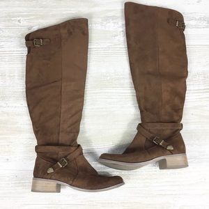 Over the Knee Faux Suede Buckle Chestnut Boot